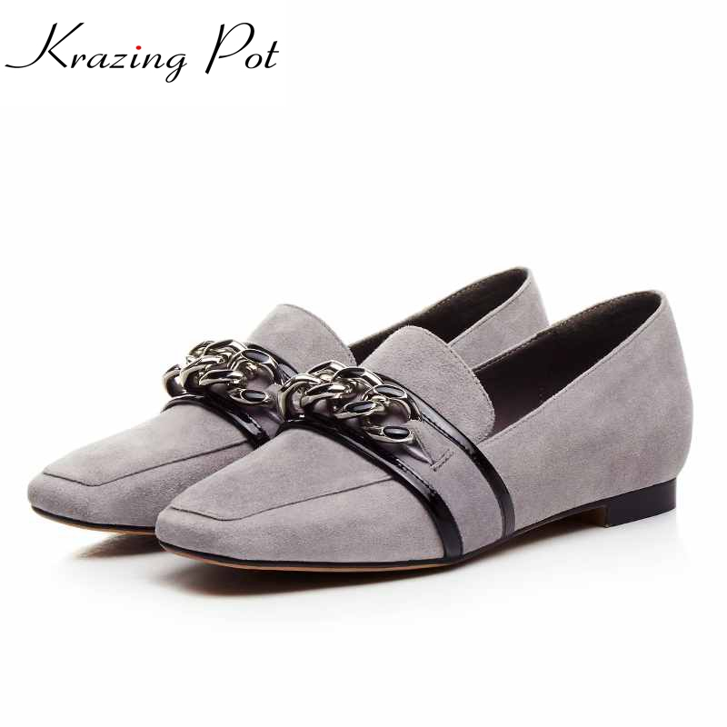 2017 New flats square toe chains superstar brand casual genuine leather slip on loafers fashion pregnant women lazy shoes L70 2017 brand new fashion spring women big head shoes slip on loafers round toe casual shoes flats leather shallow boat shoes xa 87