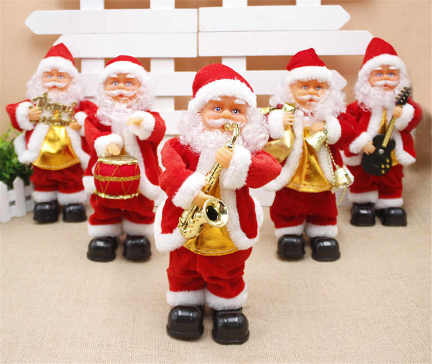 Christmas Singin.Creative Christmas Electric Santa Claus Singing Dancing Saxophone Doll Toy New Year Gift For Children Toy Navidad Xmas Decor