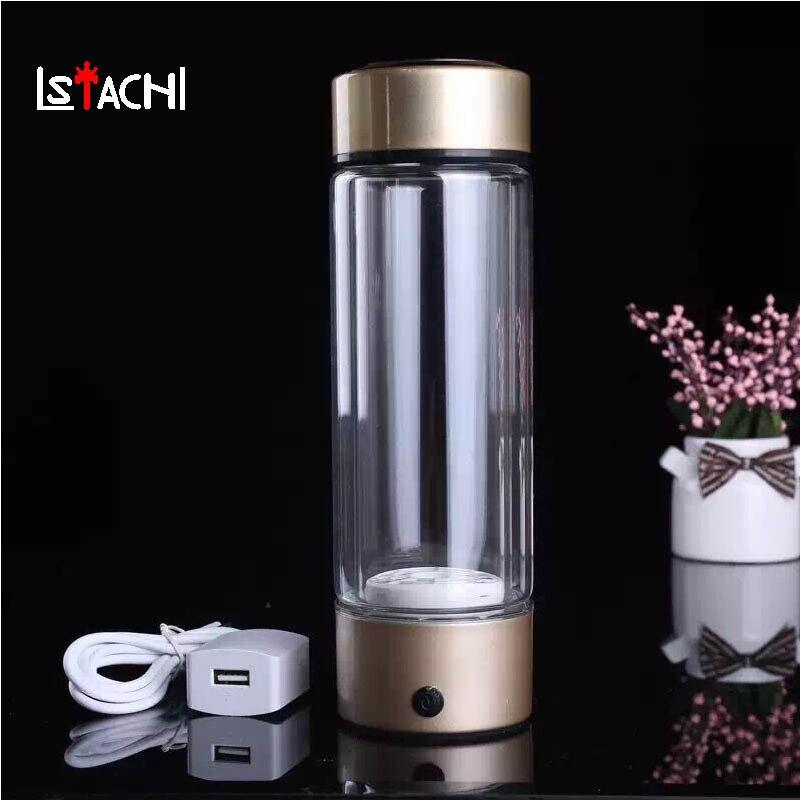 LSTACHi Portable Ioniseur D'eau Générateur D'hydrogène Pour H2 Riche D'hydrogène Bouteille D'eau Ioniseur 450 ml USB Électrolyse Hydrogène