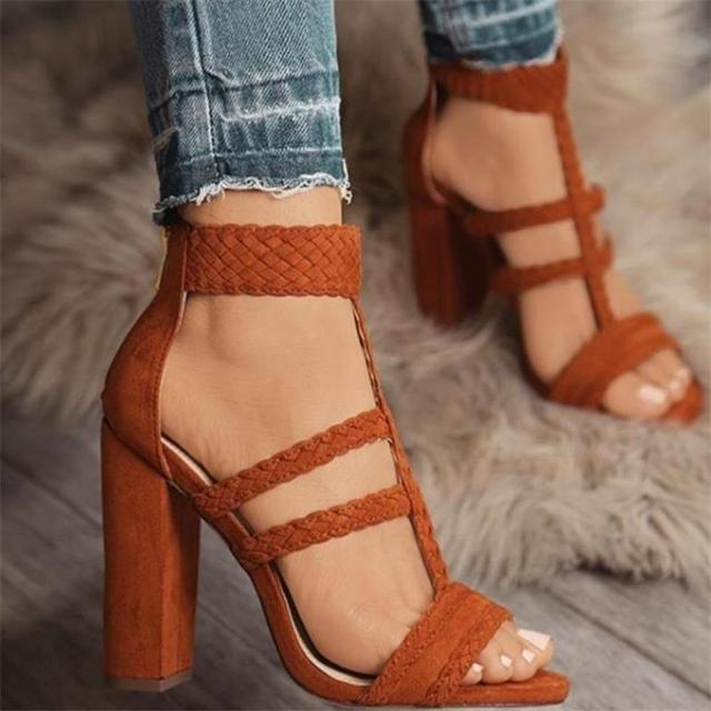 HiHopGirls ขนาด 42 Gladiator ส้นสูงรองเท้าแตะผู้หญิงเซ็กซี่ถักเท้าข้อเท้าโรมเปิดรองเท้า Toe หนาบล็อกส้นเท้า