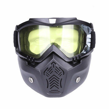Tactical Face Mask with protect Goggle Motocross removable full Face mask Detachable Helmet Vintage Glasses Hunting Accessories