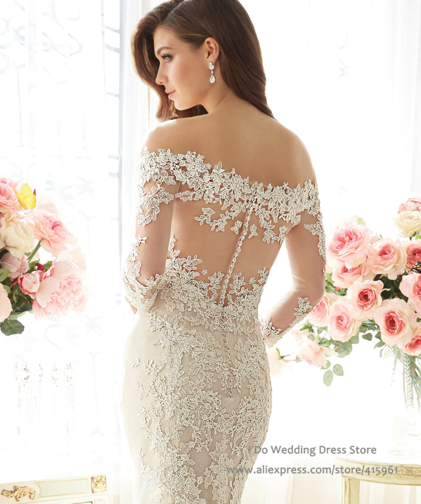Wedding Sexy Lace Wedding Dresses aliexpress com buy 2016 luxury sexy lace wedding dresses mermaid with sleeves off the shoulder bridal gowns court train custom