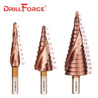 Drillforce M35 Cobalt Step Drill 4-12/4-20/4-32mm High Speed Steel Drill Bits Spiral Groove Triangle Shank For Stainless Steel