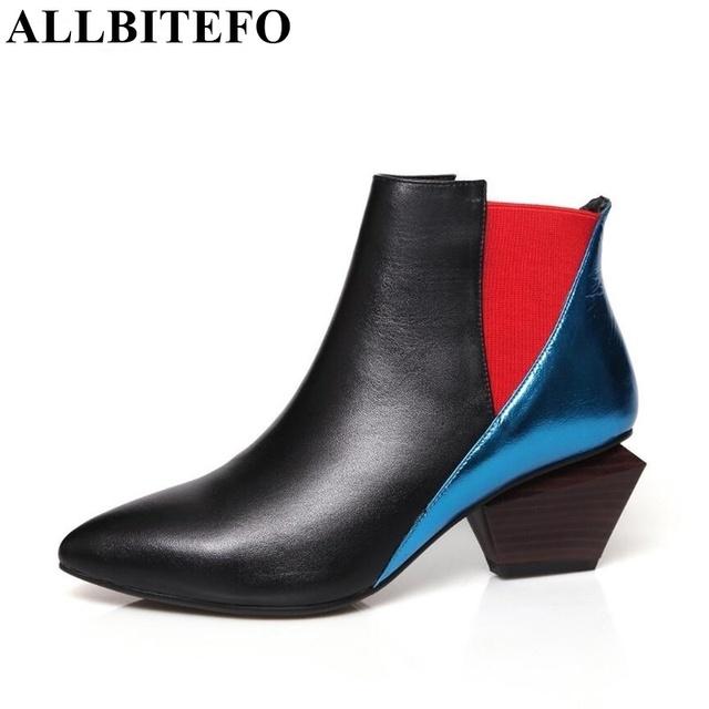 Allbitefo colord mista moda couro genuíno toe pontas das mulheres do salto grosso bombas de 2016 senhoras sexy de salto alto sapatos para mulher