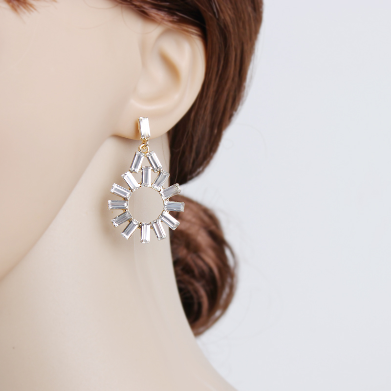 Gorgeous Clear Crystal Earrings Big Drop Earrings Gold Color Hanging Indian Jewelry Dangle Earrings For Women Wedding Acessories