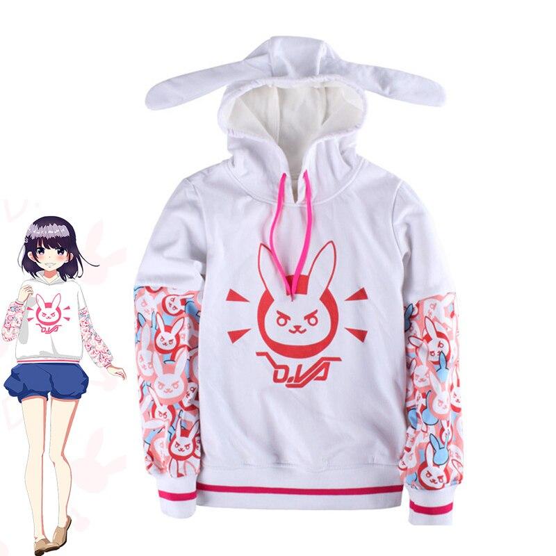 Hot Game OW Costumes D.Va Cosplay Hooded Sweatshirts Women/Girls Rabbit Printed Casual Fleece Pullover Hoodies Coat White New
