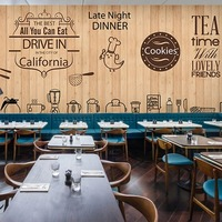 Seamless vintage wood grain large murals custom Baked tea cake bakery shop 3D wallpaper cafe restaurant 3D wallpaper