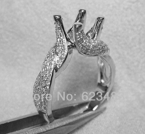 7mm rond taille solide 14kt or blanc diamant SEMI montage bague paramètres ree expédition