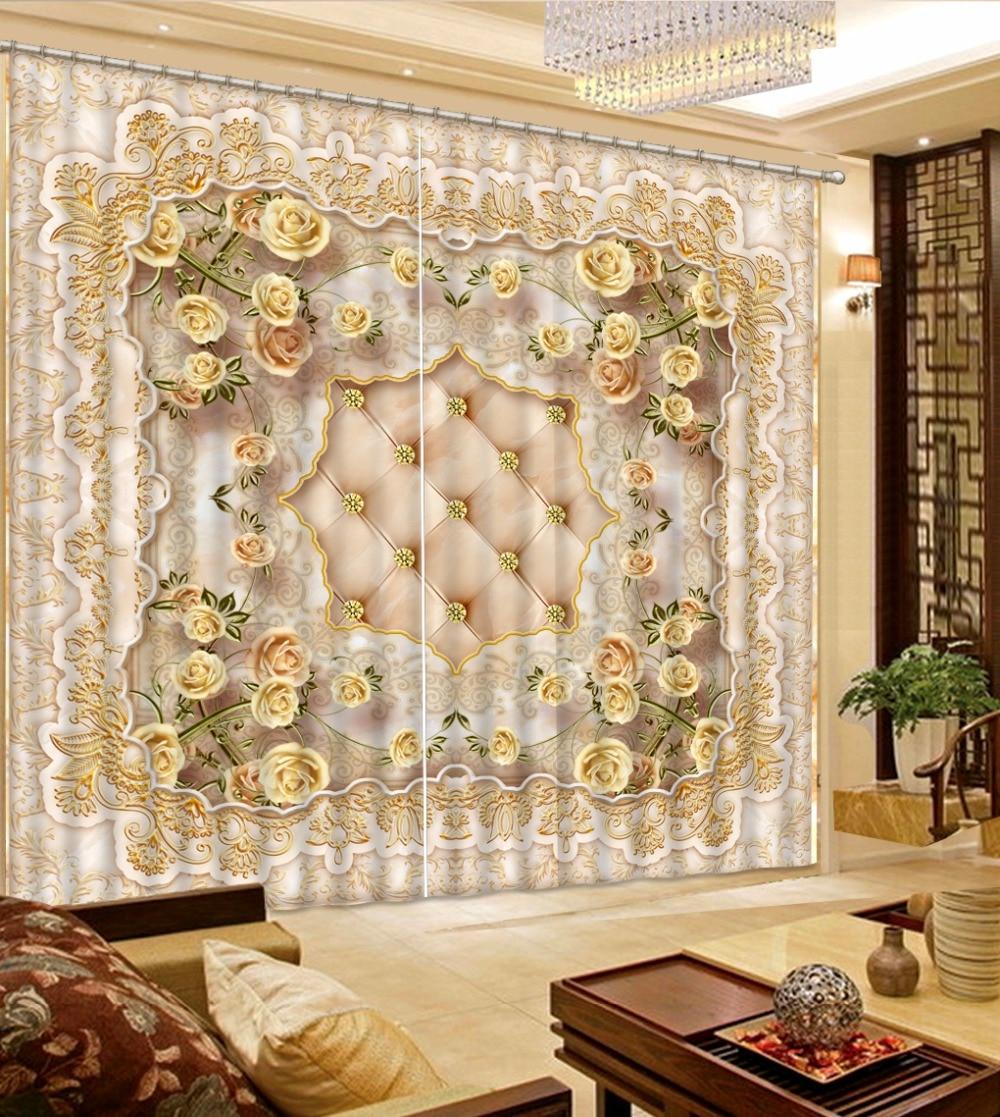 European gold rose Luxury Curtains Soft pattern 3D Blackout Curtains Fashion Home Decoration Window DrapesEuropean gold rose Luxury Curtains Soft pattern 3D Blackout Curtains Fashion Home Decoration Window Drapes