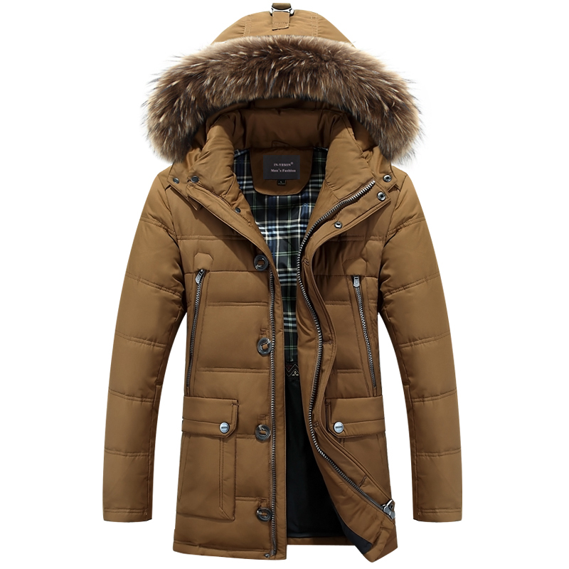 IN YESON Men s Down Jackets Mens Brand Thick Warm Fur Collar Hooded Duck Down Coat
