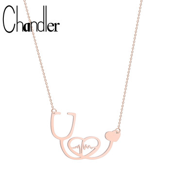 Chandler Stainless Steel Nurse Medical Stethoscope Love Heart Necklace  Bijoux Collier EKG Doctor Nurse Graduation Medical Gift