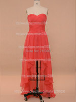 Hot Pink High Low Prom Dresses Chiffon Front Short Back Long Evening Dresses