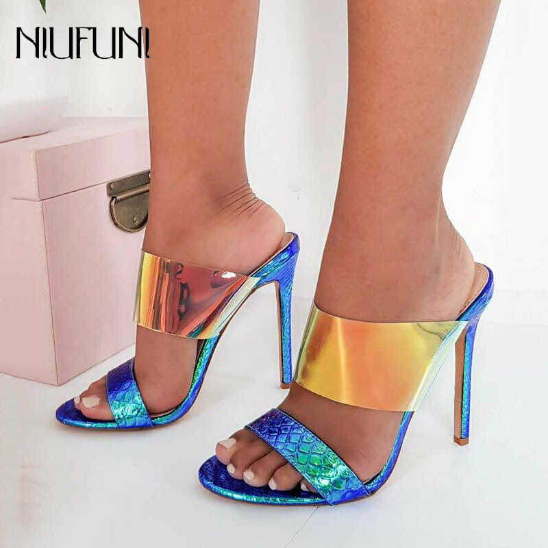 Women Sexy Slip On Peep Toe Sandals High Heels Slippers Open Toe Dress Shoes Sexy PVC Ladies Summer Transparent Mules Shoes