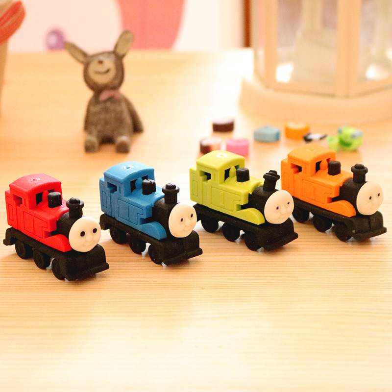 1 Pcs Cartoon Train Eraser Student Rubber Stationery Wholesale Student Prizes
