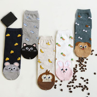 Newly Design Cute Cartoon Cat Socks Striped Pattern Women Cotton Sock Animals Cartoon Socks Women Cotton Socks Floor