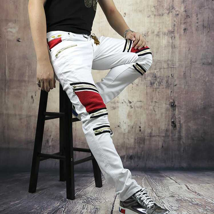 #1406 2016 Black jeans with zipper men Biker White Skinny jeans men Biker jeans masculino Distressed hip hop jeans Famous brand