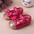 Insole 12.5-14.5cm  New Baby Girl Shoes PU Leather Shoes Spring Autumn Blingling Butterfly Knot Shoes
