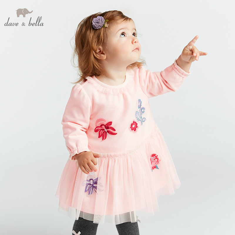 DBA7901 dave bella spring Princess baby dresses girls Lolita dress children long sleeve high quality dress embroidery dress