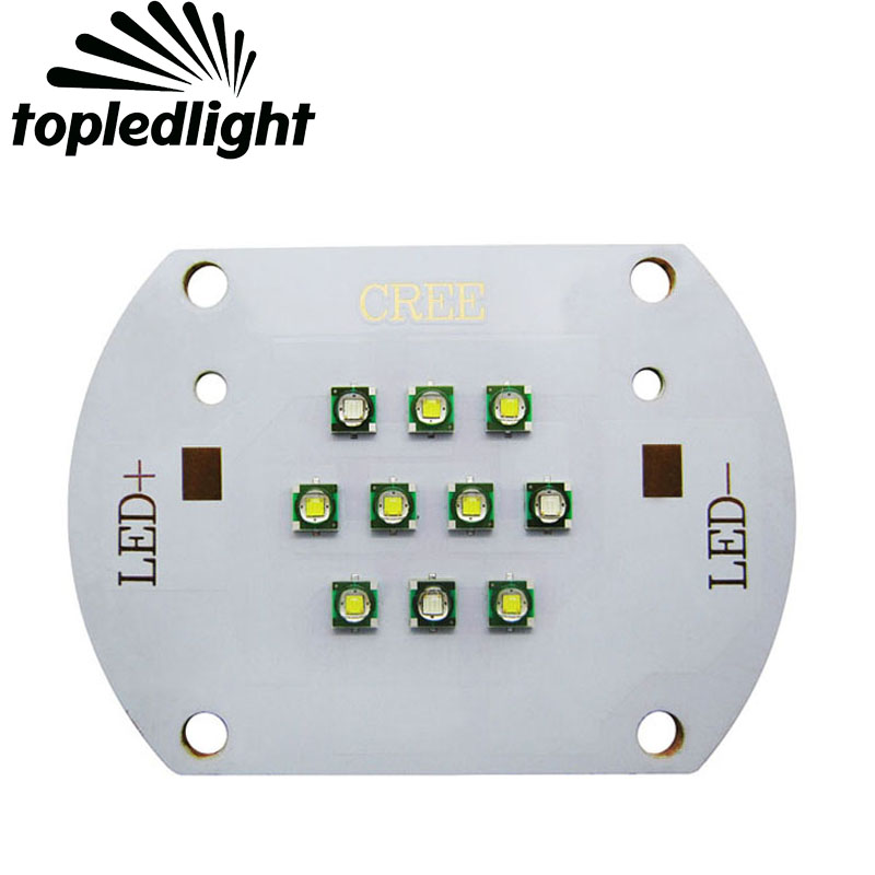 bb34a150e Topledlight personalizar 30 W cree XPe XP-E 3 unids 475NM azul + 7 unids  6000 K LED blanco emisor lámpara luz para el acuario uso