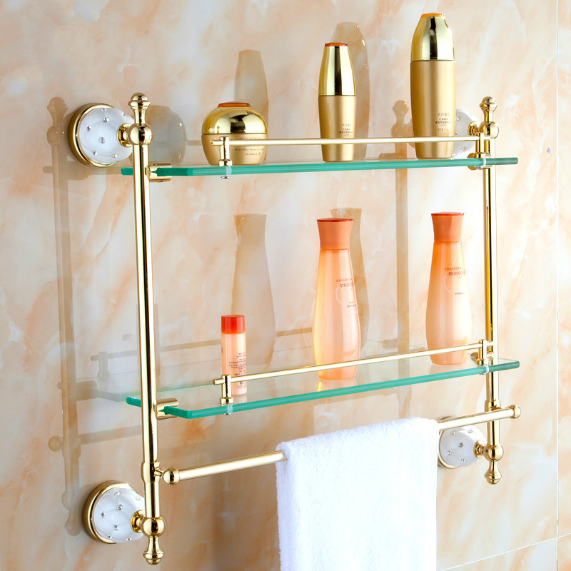 Copper Towel Bar Gold Plated Double Glass Shelf Glass Single Makeup Frame Bathroom Towel Rack Bathroom Accessories towel bar k37355afd