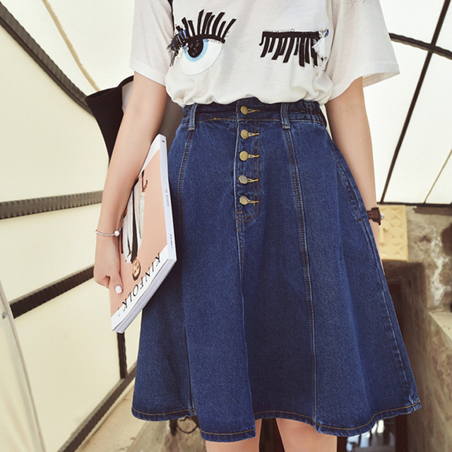 19afa2678cd 2018 New Denim Plus Size Woman Skirt A-line Jeans Front Button Knee-Length High  Waist Saia Jupe Korea Style Skirts Women Saias