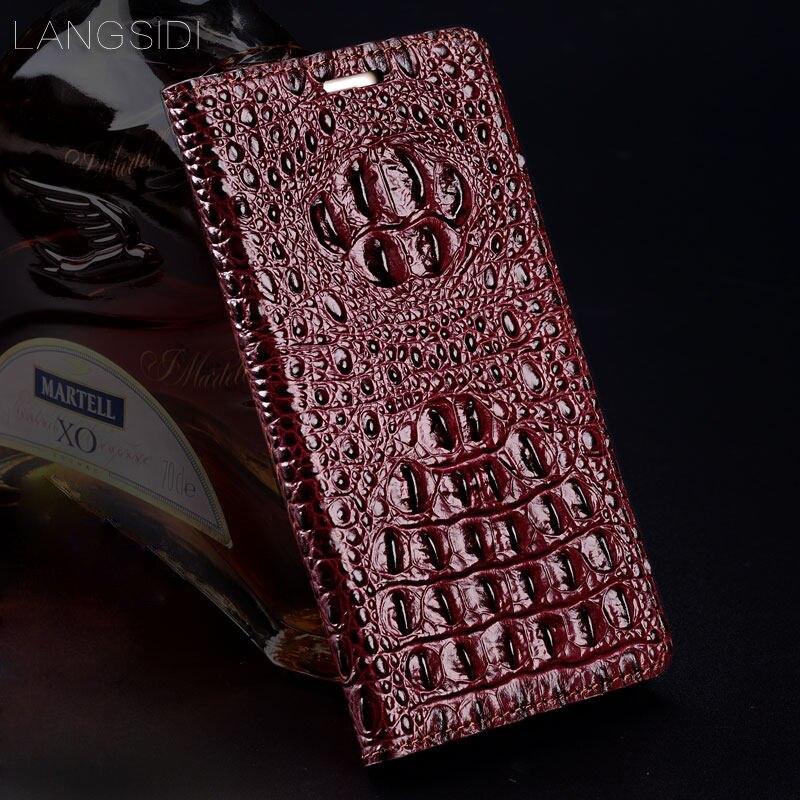 Wangcangli cuir véritable flip coque de téléphone Crocodile texture arrière pour Sony Xperia XA1 Plus coque de téléphone tout fait à la main