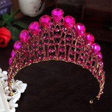 цены Vintage Gold Silver Wedding Crown Bridal Tiara Baroque Queen King Crown Luxury Big Water Drop Colorful Crystal Tiaras And Crowns