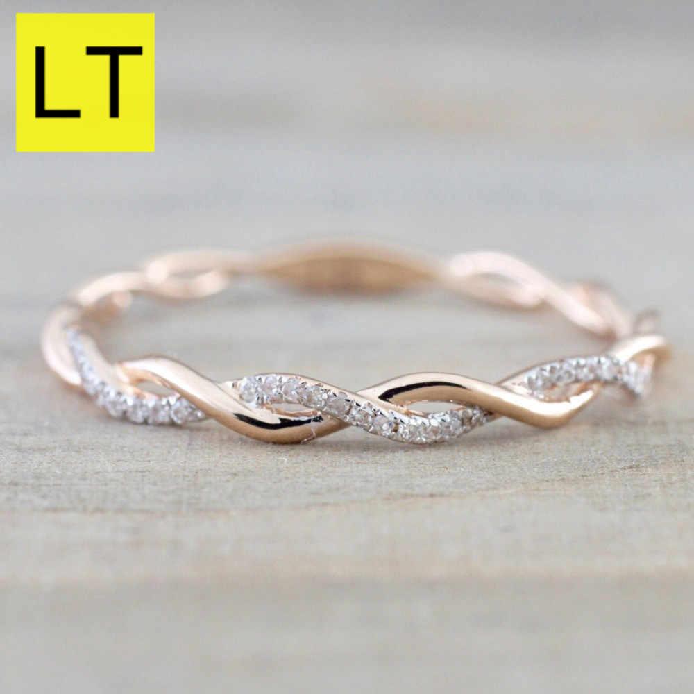 b4325b3d8c71 Color rosa de oro ultrafino cuerda torcedura Zircon anillos redondos para  las mujeres plata Rhinestone elegante