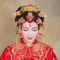 Ternos noiva cocar Chinês vermelho borla Traje de casamento Acessórios cheongsam show de cabelo jóia do cabelo de noiva