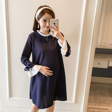 1dd5c6277 Pengpious 2018 nueva ropa de invierno de maternidad engrosamiento de la moda  las mujeres embarazadas plisado manga larga vestido.