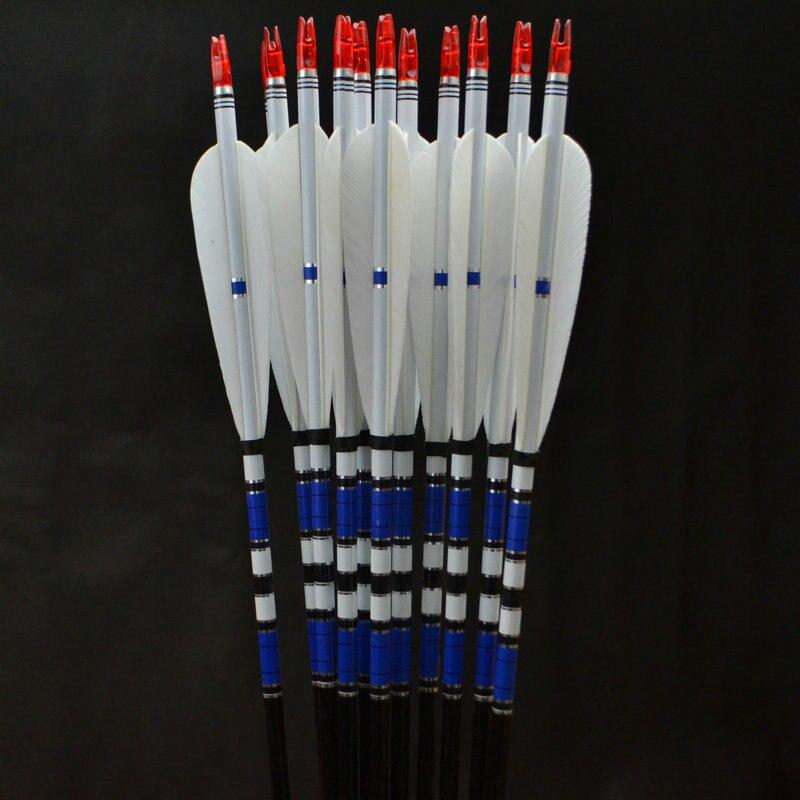 12x aluminium pijlen turkije veer voor 20-50lbs handboog recurve boog - Jacht