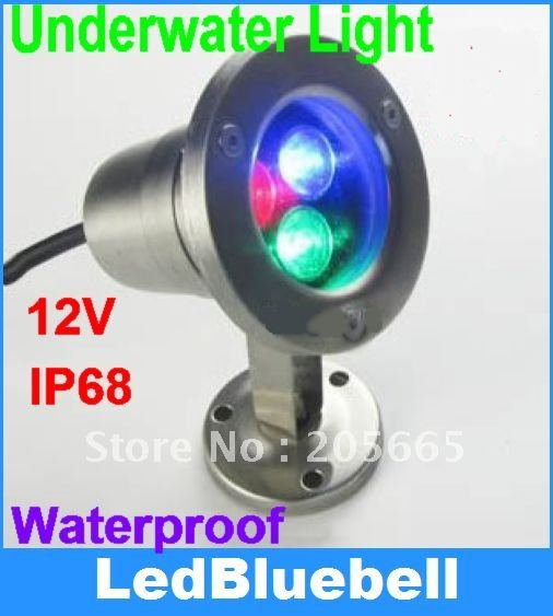 3W RGB LED Underwater Light Waterproof for Swimming pool lamp 12V Input