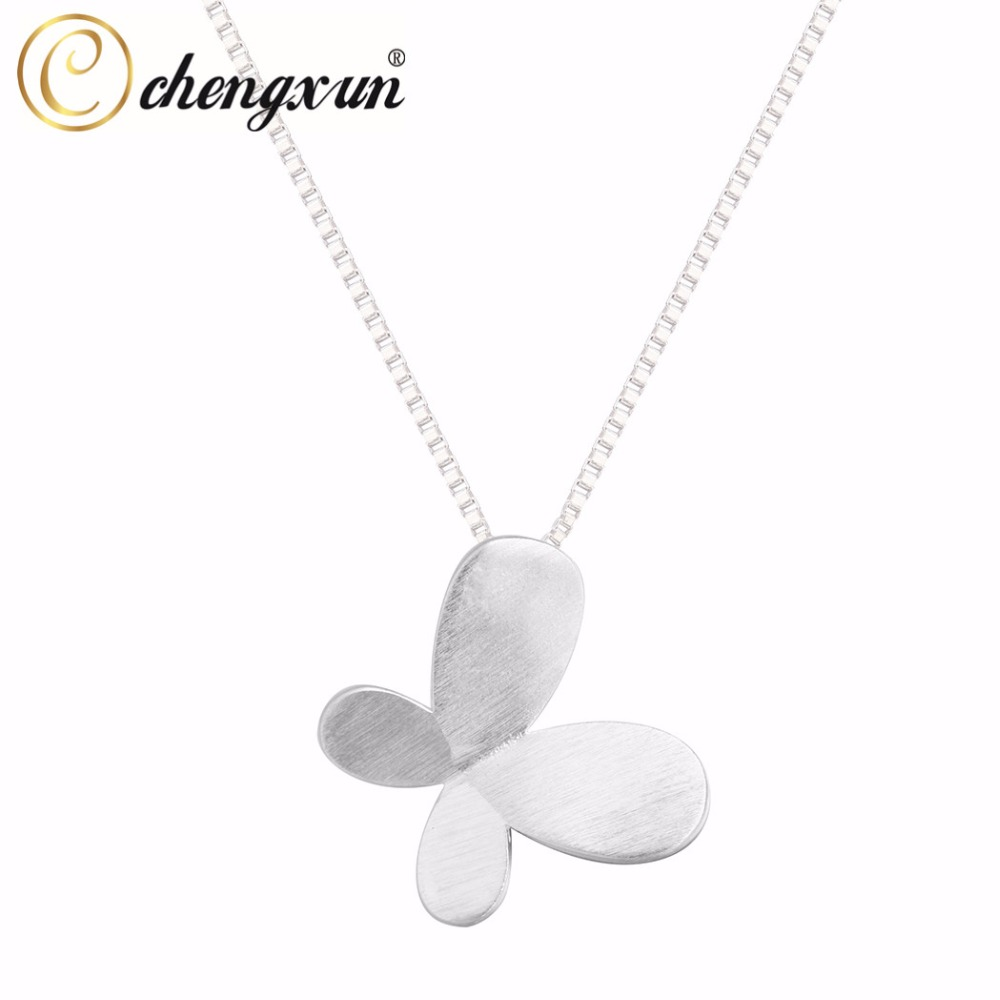 CHENGXUN Simple Jewelry 925 Silver Double Butterfly Wings Feather Pendant Necklace For Women Gift