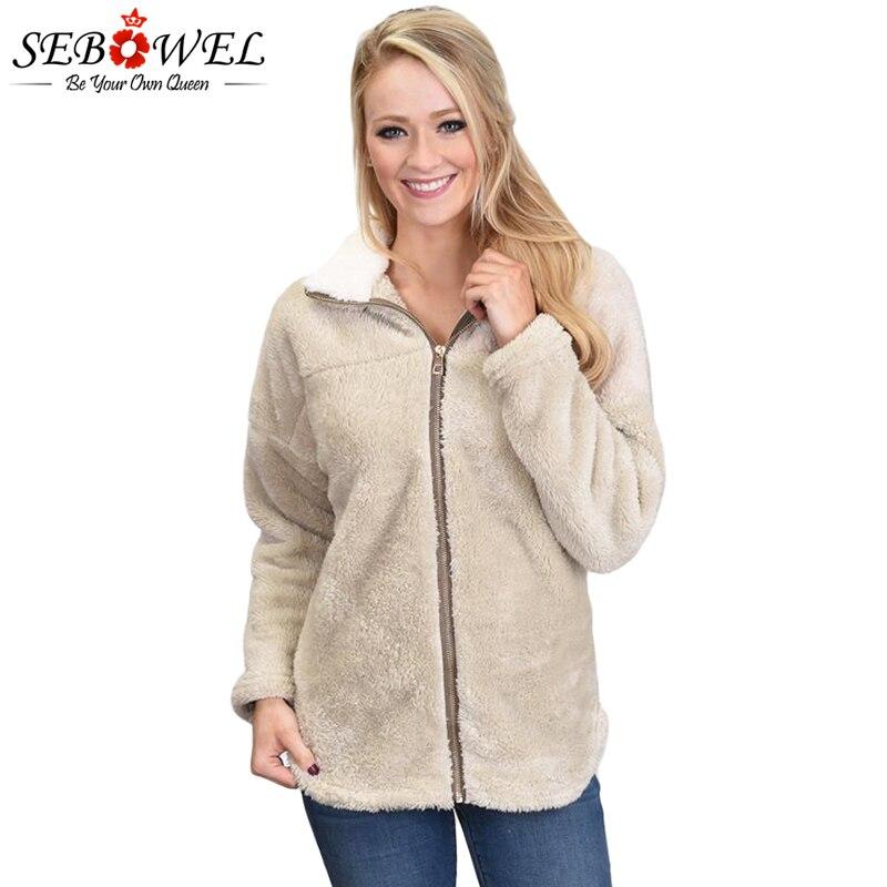 SEBOWEL Autumn Winter Women Lamb Fleece Jacket Coat Female Winter Velvet Zipper Coat Outwear 2019 Plus Size Women Winter Clothes