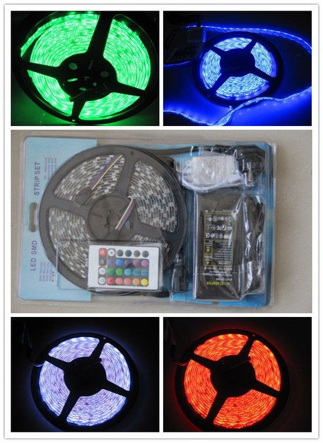 Free Shipping with Retail !!! Waterproof 5050 RGB Led Strip Light 300led/5m + 24Key IR Remote Control + 6A Power Supply