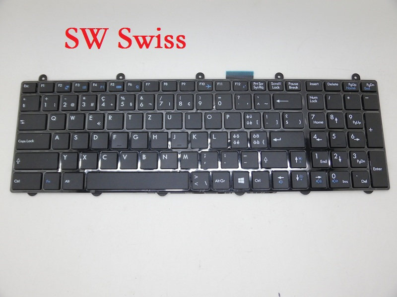 Laptop Keyboard For MSI GP62 2QD 2QE 6QE 6QF Black RU Russian SW Swiss TR Turkish US English FR French GR German laptop keyboard for acer silver without frame turkish tur v 121646ck2 tr aezqsa00110
