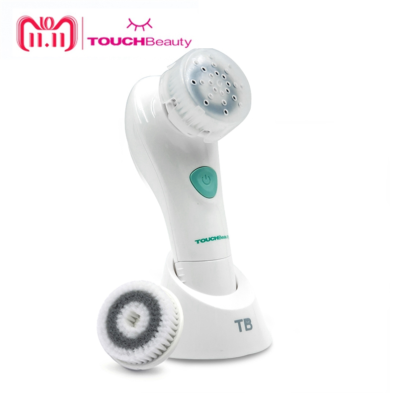 TOUCHBeauty Face Cleansing Brush Oscillating with PBT Brush Head, 2 optional working speeds battery facial brush TB-1487 touchbeauty smart rechargeable dual head optical facial cleansing brush with inbuilt sensor and timer tb 1582