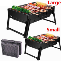 Black BBQ Grill Folding Portable Charcoal Barbecue Grills BBQ Tools Accessories Cookware Foldable Outdoor Graden Camping Travel