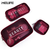 MELIFE Double Zipper Women Makeup Bag Cosmetic Bags Case Make Up Organizer Toiletry Bag Kits Storage