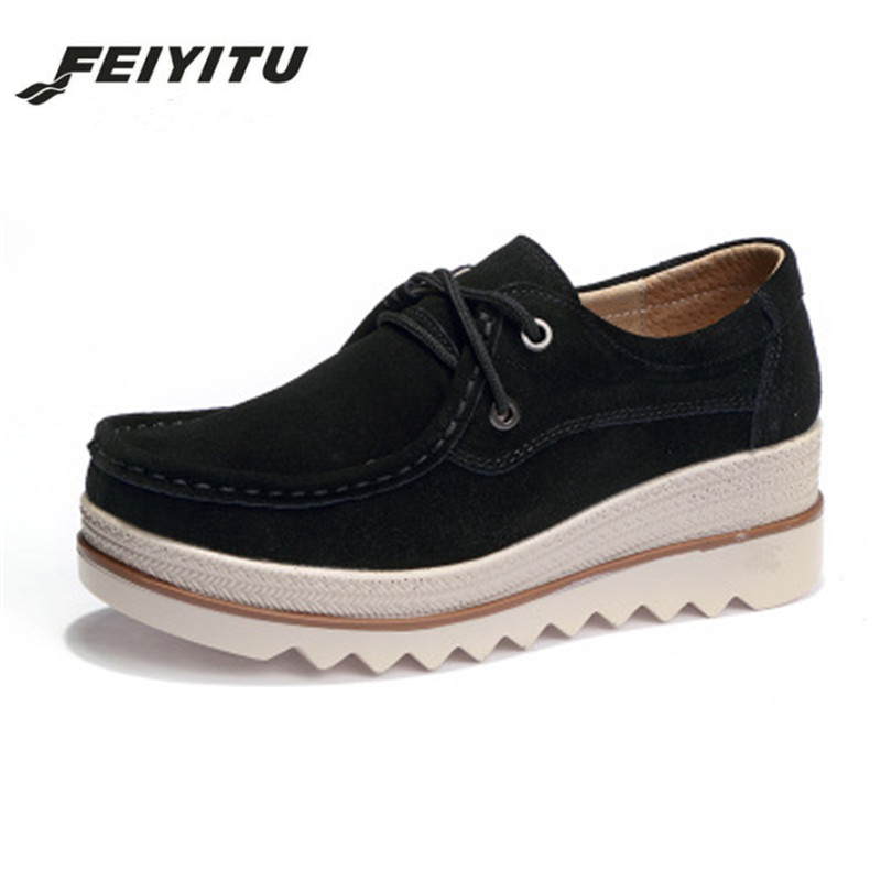FeiYiTu 2018 Spring women flats thick soled   leather     suede   platform sneakers shoes female casual shoes lace up flats creepers