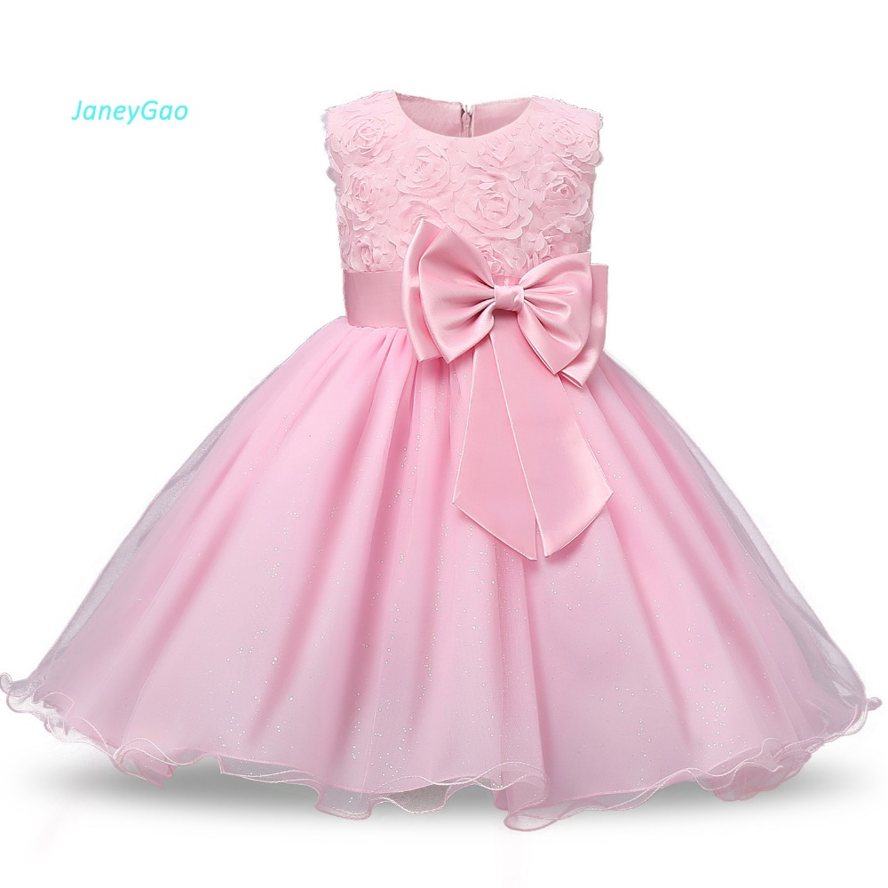 JaneyGao   Flower     Girl     Dresses   For Wedding Party Formal Gown For Little Baby   Girl   Withe Appliques Cute Bow 2018 Summer New Style