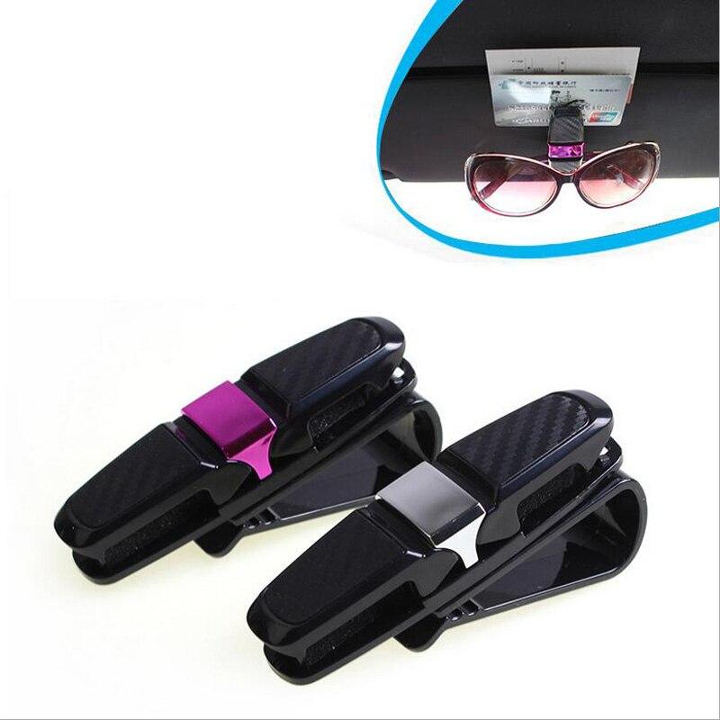 Universal Fastener Cip Eyeglasses Clip Ticket Card Clamp ABS Car Glasses Cases Silver Purple Car Sun Visor Sunglasses Holder