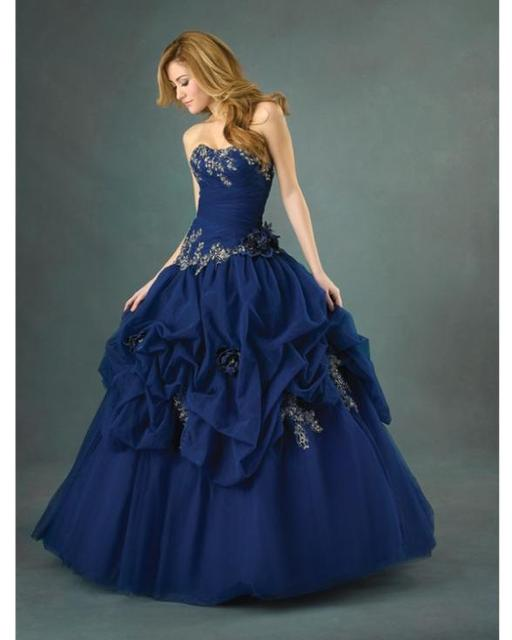 c1a8a926308 Royal Blue Ball Gown Strapless Sweetheart Lace Up Full Length Quinceanera  Dresses With Embroidery and Flowers and Ruffles