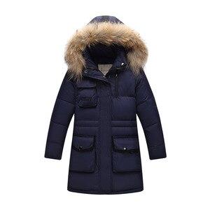 Image 2 - ロシア冬の男の子肥厚暖かいダウンジャケット 30度女の子ビッグアライグマの毛皮の襟フード付きダウン & パーカー子供ダウンコート