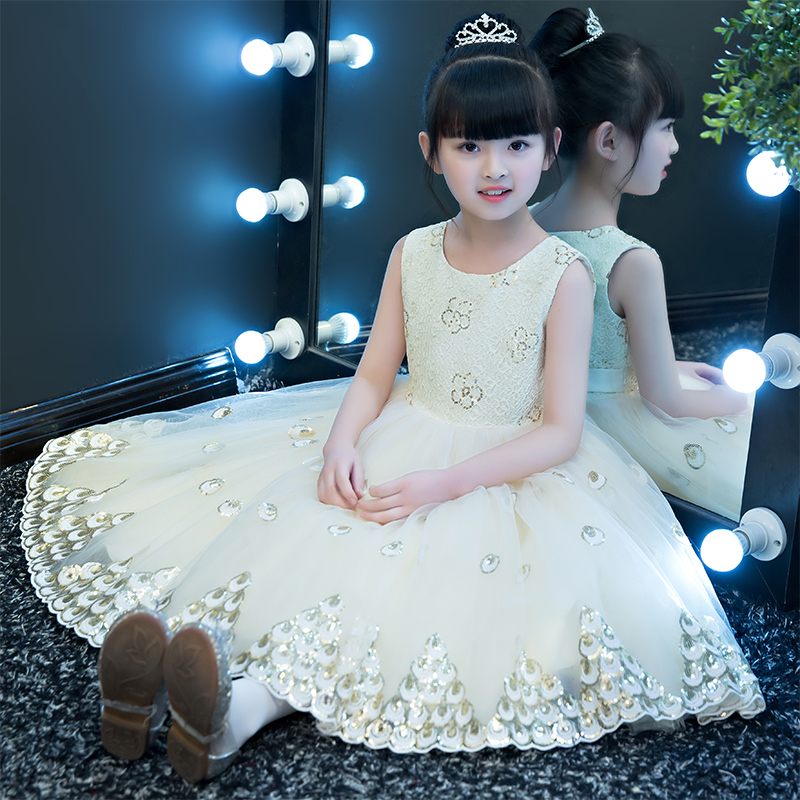 Baby Girl Kid Evening Party Dresses For Girl Wedding Princess Clothing 2018 New Solid Color Bow Moderator Dress Children Clothes moderator