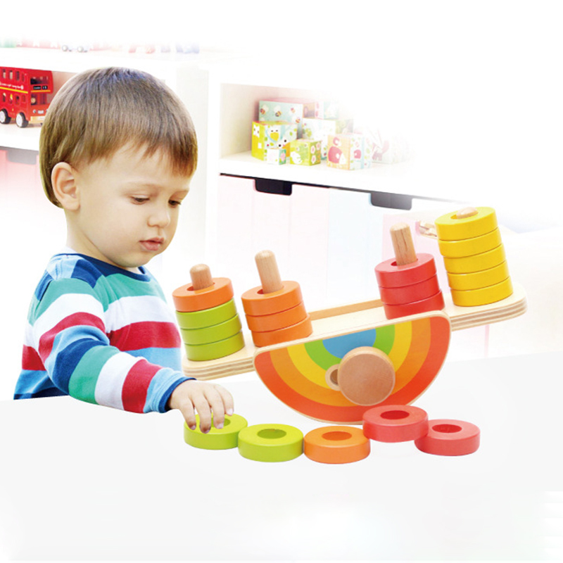 2017 New Arrival Baby Montessori Toys Wooden Rainbow Balance Blocks Toy Colorful Beads Seesaw Early Education Childrens Day Gift new wooden baby toy montessori cylinder blocks sensorial preschool training early childhood education