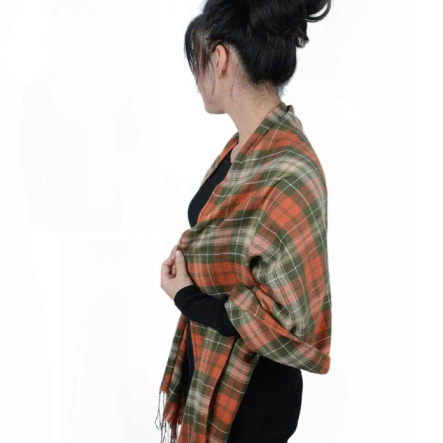 Essential 210cm 60cm New Women Winter Infinity Blanket Oversized Shawl Plaid Check font b Tartan b