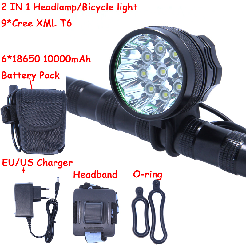 9T6 Led Headlamp Bike Light 9 * Cree XM-L T6 3 Modes 14000LM Front Bicycle Light Super Power with Battery Pack & Charger rechargeable 2000lm tactical cree xm l t6 led flashlight 5 modes 2 18650 battery dc car charger power adapter