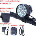 9T6 Led Headlamp Bike Light 9 * Cree XM-L T6 3 Modes 14000LM Front Bicycle Light Super Power with Battery Pack & Charger