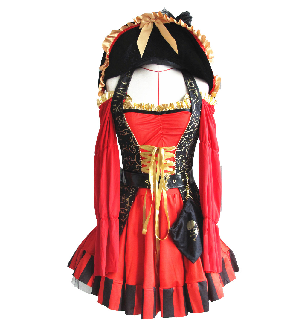 UTMEON New Luxury 5 Pieces Spanish Black Red Pirate Costume,Adult Women Halloween Costume S M L XL XXL